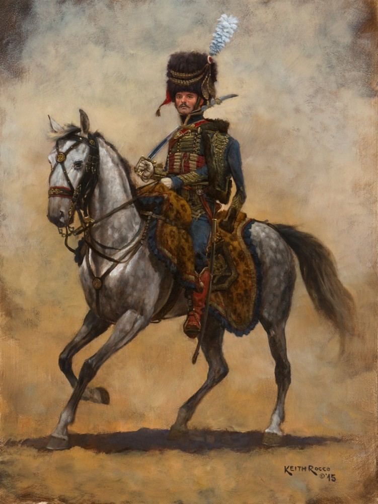 Dipinto - Capo squadrone dell'Artiglieria a cavallo della Guradia Reale Italiana 1810